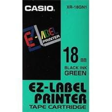 Páska CASIO XR-18GN1 Black On Green Tape EZ Label Printer (18mm)