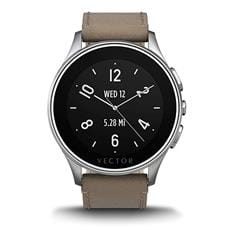 Vector Luna smarthodinky - Brushed Steel/Tan Leather (Small)