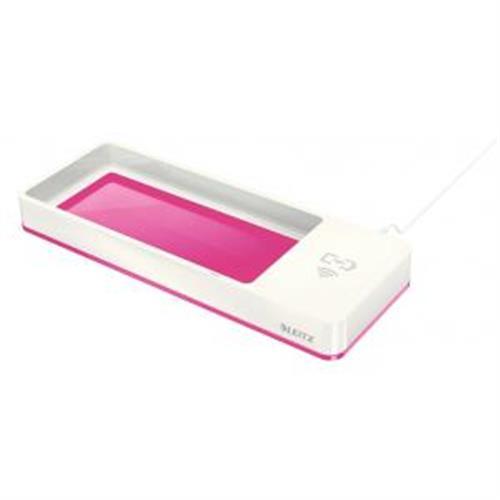 Stolový organizér s bezdrôtovým nabíjaním Leitz WOW metalický ružový ES536523