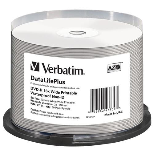 Média DVD-R Verbatim spindle 50, 4.7GB, 16x, wide glossy 43734
