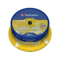 Média DVD+RW Verbatim cakebox 25, 4.7GB, 4x