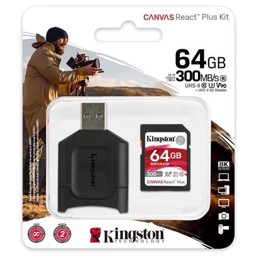 64GB SDHC Kingston Canvas React Plus UHS-II V90 + čítačka MLPR2/64GB