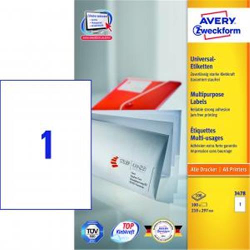 Etikety univerzálne 210x297mm Avery A4 100 hárkov AV003478