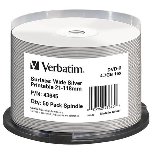 Média DVD-R Verbatim spindle 50, 4.7GB, 16x, WIDE SILVER INKJET PRINTABLE 43645