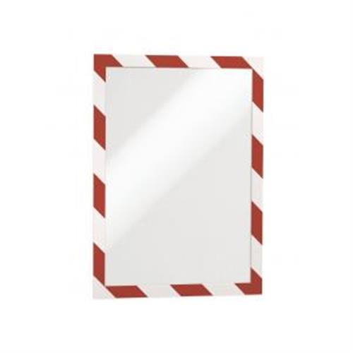 Samolepiaci Duraframe Security A4, červeno-biely, bal.2 ks DU494432