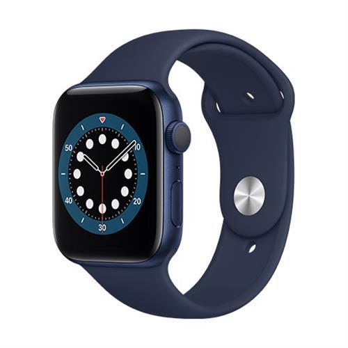 Apple Watch Series 6 GPS, 44mm Blue Aluminium Case with Deep Navy Sport Band - Regular M00J3VR/A