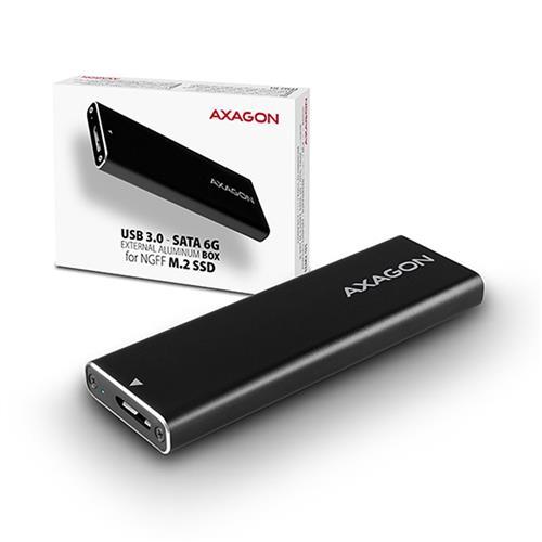 AXAGON EEM2-U3, USB3.0 - SATA 6G, M.2 SATA SSD hliníkový box, dĺžka až 2280