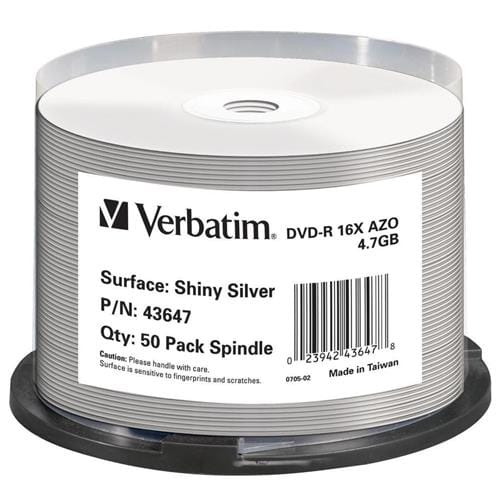 Média DVD-R Verbatim cake box 50, 4.7GB, 16x, SHINY SILVER 43647