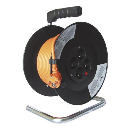 Solight predlžovací prívod na bubne, 4 zásuvky, oranžový kábel, čierny bubon, 20m PB09