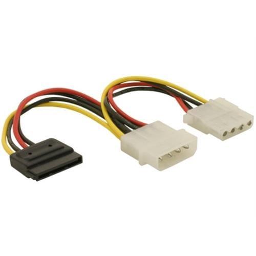 Power Adapter Molex 4-pin samec na SATA 15-pin + Molex 4 pin samica 60103