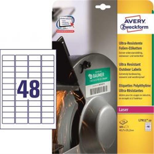 Etikety Avery 45,7 x 21,2 mm, ultra odolné biele AV791110