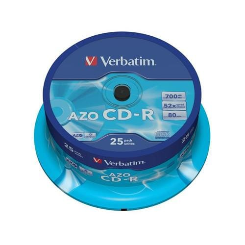 Média CD-R Verbatim DLP 80min., 52x, Crystal, 25-cake 43352