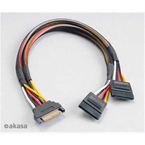 SATA napájacia rozdvojka 15pin Sata(M) na 2xSata(F) AK-CBPW05-30