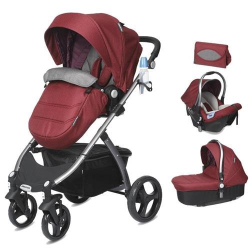CASUALPLAY - Playxtrem Skyline Set športový kočík, autosedačka 0-13 kg, vanička a prebalovacia taška - Autumn (Red) 8425858342683