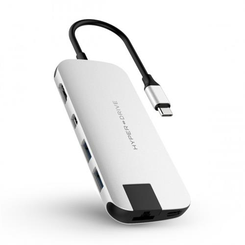 HyperDrive SLIM USB-C Hub - strieborný HY-HD247B-SILVER