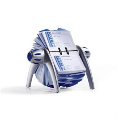 Rotačný stolový vizitkár na 400 vizitiek VISIFIX Flip VEGAS strieborný/modrý DU241723