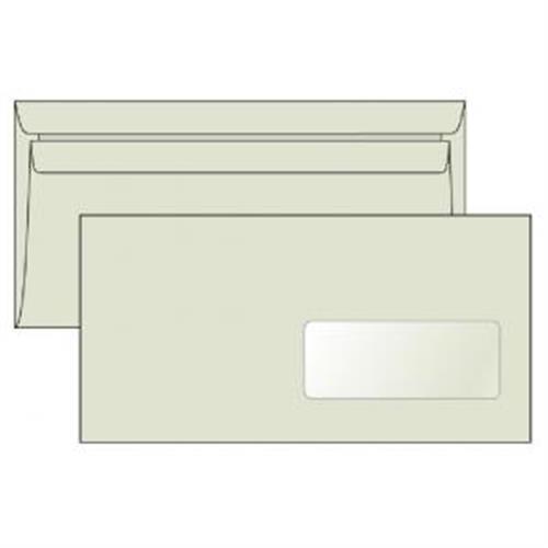 Poštové obálky DL samolepiace, okienko recyk. LETTURA 1000ks OB501030