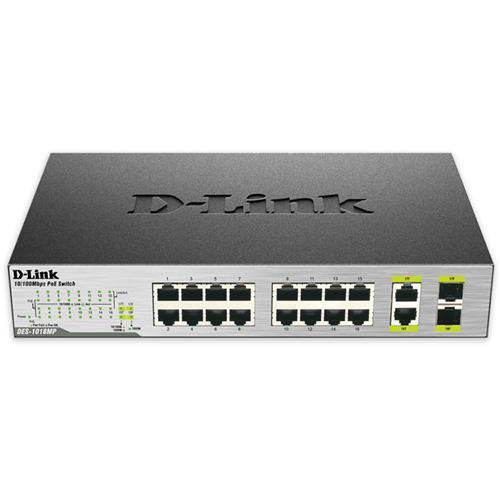 D-Link DES-1018MP 16x100+2xGbE RJ45/SFP PoE switch