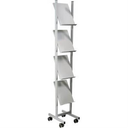 Mobilný prezentačný stojan Helit 4xA4 sivý/kov HE681339