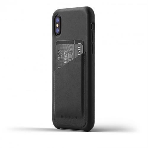 MUJJO Full Leather Wallet Case pre iPhone X - čierny MUJJO-CS-092-BK