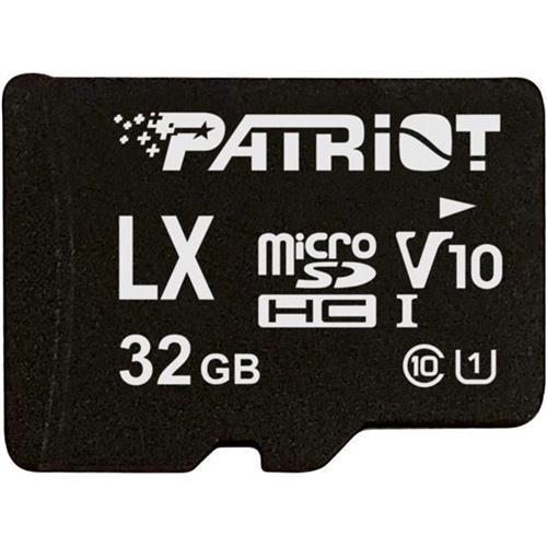 32GB microSDHC Patriot V10, class 10 U1 až 80MB/s + adaptér PSF32GLX1MCH