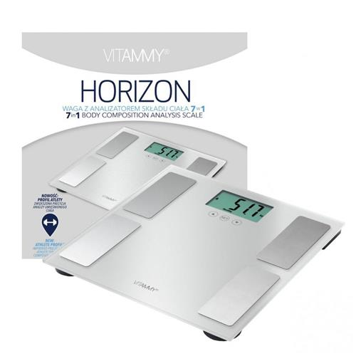 VITAMMY HORIZON Kúpeľňová váha a váha pre športovcov s funkciou SENSE ON, farba biela perl 417796