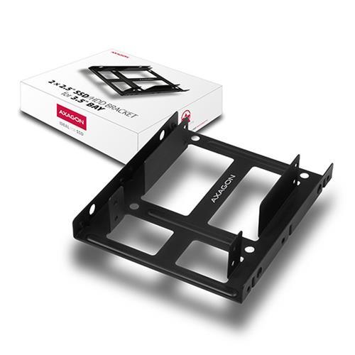 AXAGON RHD-225, kovový rámček pre 2x 2.5'' HDD/SSD do 3.5'' pozície, montáž ventilátoru