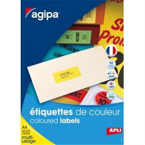 Etikety farebné 70x31mm Agipa A4 100 hárkov žlté AG119031