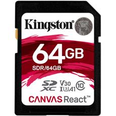 64GB SDXC Kingston Canvas React U3 V30 A1 100R/80W