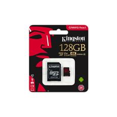 Kingston 128GB mSDXC Canvas React (100R, 80W, CL10 UHS-I V30 + SD adaptér)