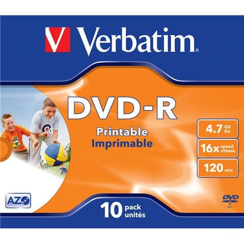 Média DVD-R Verbatim 4.7GB, 16x, Printable, Jewel case, 10ks 43521