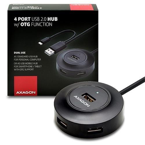 AXAGON 4x USB2.0 cable hub + micro USB OTG BLACK HUE-X6GB