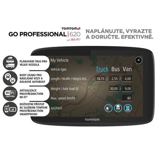 TomTom GO Professional 620 EU, Wi-Fi, LIFETIME mapy 1PN6.002.05