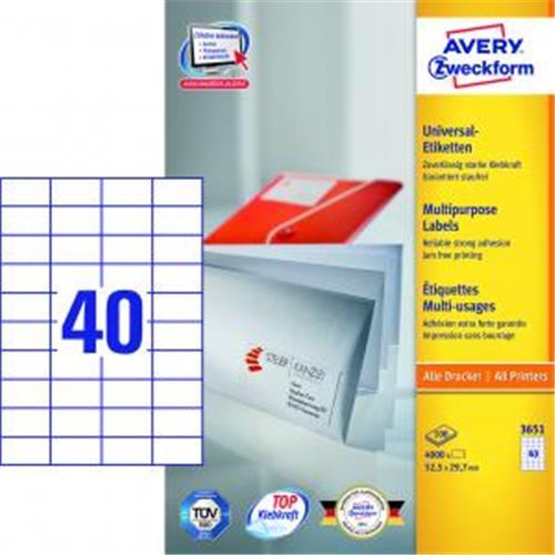 Etikety univerzálne 52,5x29,7mm Avery A4 100 hárkov AV003651