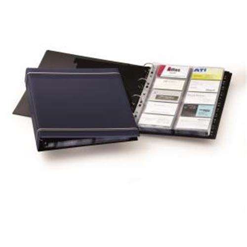 Vizitkár prenosný 4-krúžkový na 400 vizitiek VISIFIX A4 modrý DU238807