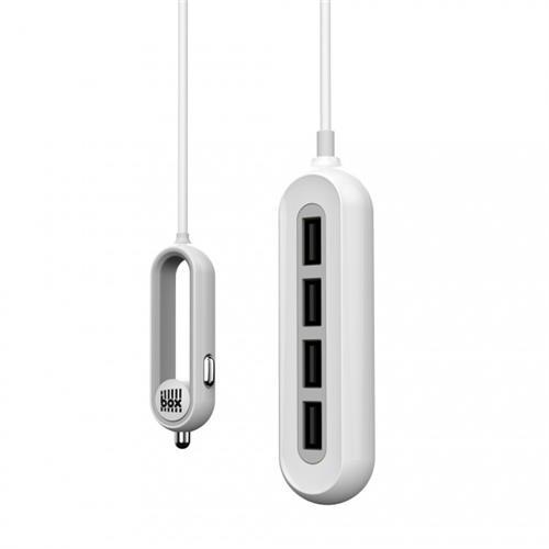 BOX Products 12V/24V Car Smart Charger - 1.5m, 4x USB, 9.6A - biely BX-BCC4USBWT