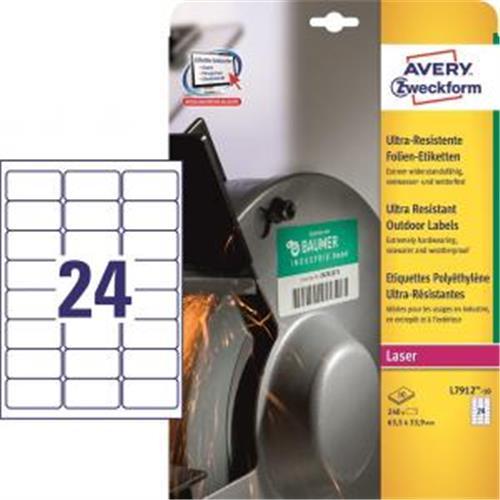 Etikety Avery 63,5x33,9 mm, ultra odolné biele AV791210
