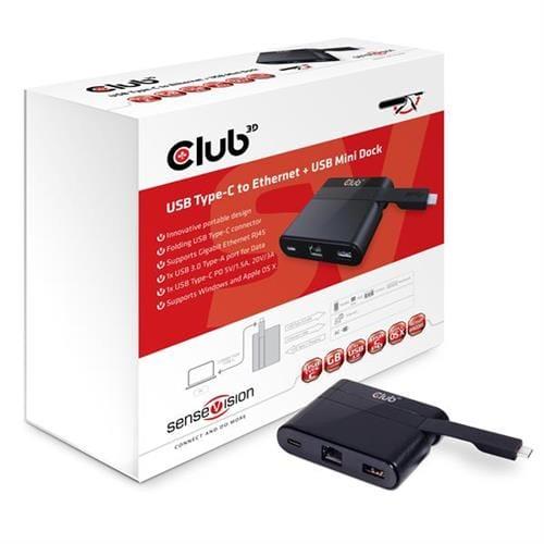 Club3D MINI USB-C Smart Docking Station (RJ45+USB3.0+USB-C Charger ) CSV-1530