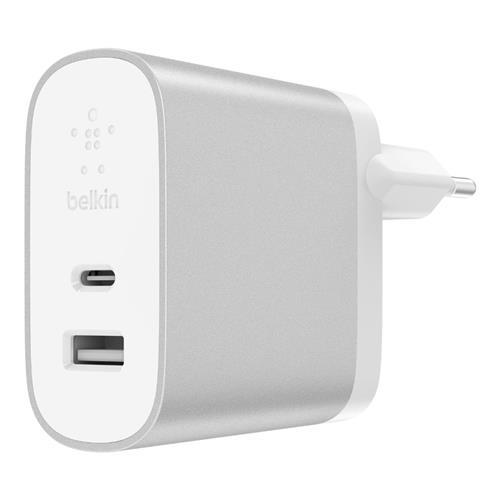 BELKIN 27W + 12W USB-C/A Dual Home Charger, Silver F7U061vf-SLV