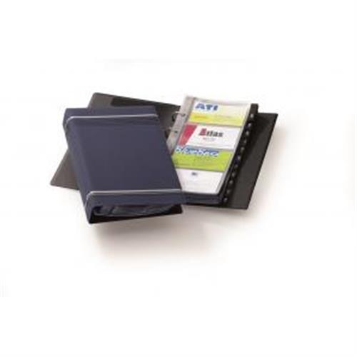 Vizitkár prenosný 4-krúžkový na 200 vizitiek VISIFIX modrý DU238507