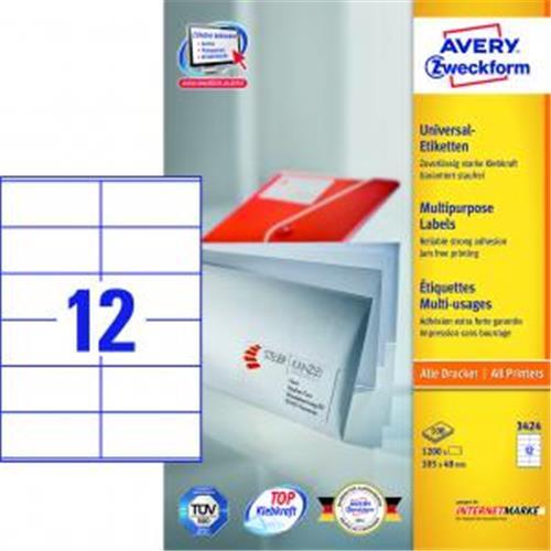 Etikety univerzálne 105x48mm Avery A4 100 hárkov AV003424
