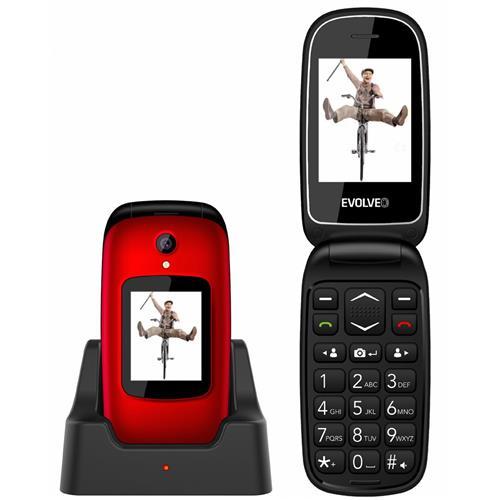 EVOLVEO EasyPhone FD, vyklápací mobilný telefón pre seniorov, červený EP-700-FDR