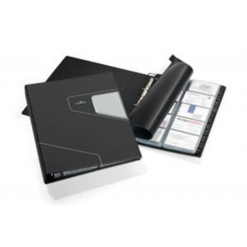 Vizitkár prenosný 4-krúžkový na 400 vizitiek VISIFIX PRO A4 čierny DU246258