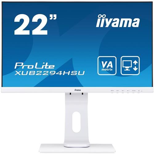 Monitor iiyama XUB2294HSU-W1, 22'', VA, FullHD@75, 250cd/m2, 4ms, VGA, HDMI, DP, USB, výšk. nastav., pivot, biely