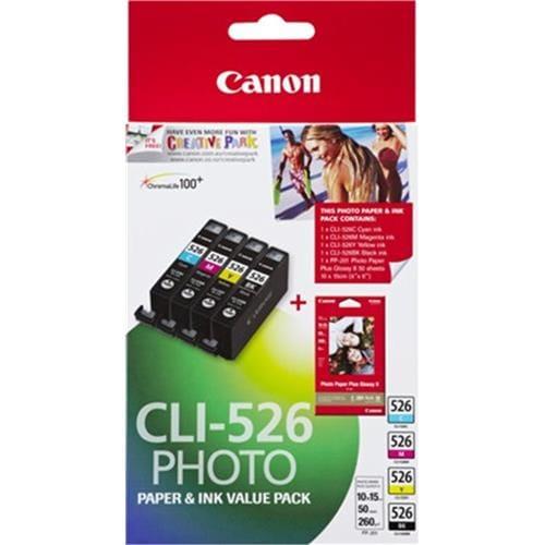 Kazeta CANON CLI-526 C/M/Y/B + 50x PP-201 4540B017