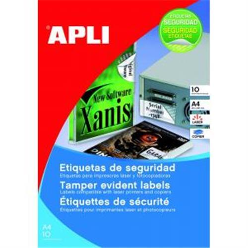 Etikety bezpečnostné 45,7x21,2mm APLI A4 10 hárkov AG112720