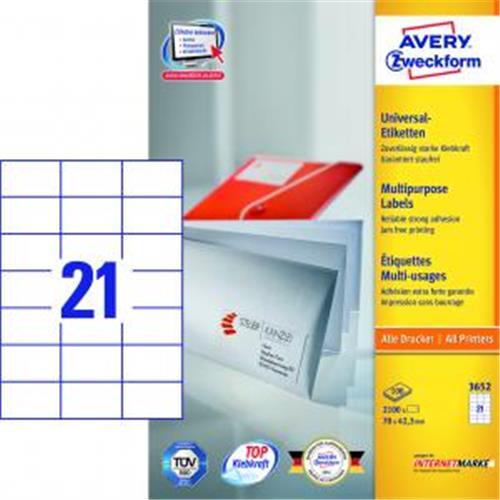 Etikety univerzálne 70x42,3mm Avery A4 100 hárkov AV003652