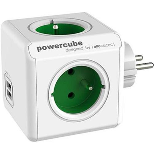 Zásuvka PowerCube ORIGINAL USB, Green, 4 rozbočka, 2x USB 423654