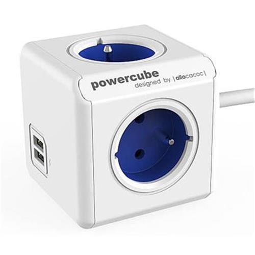 Zásuvka predlž. PowerCube EXTENDED USB, Blue, 4 rozbočka, 2x USB, kabel 1,5m 423683