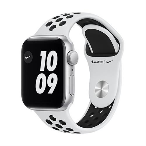 Apple Watch Nike Series 6 GPS, 40mm Silver Aluminium Case with Pure Platinum/Black Nike Sport Band - Regular M00T3VR/A